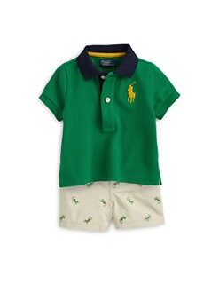 Ralph Lauren - Infant's Two-Piece Schiffli Polo Shirt & Chino Shorts