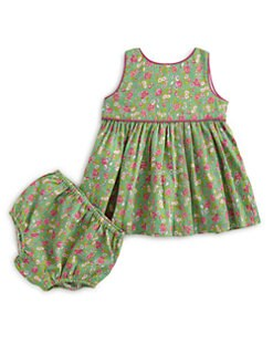 Ralph Lauren - Infant's Striped Floral Dress & Bloomers Set