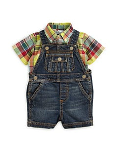 Ralph Lauren - Infant's Two-Piece Denim Overalls & Plaid Shirt Set
