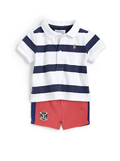 Ralph Lauren - Infant's Two-Piece Striped Polo Shirt & Mesh Shorts Set