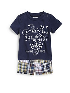 Ralph Lauren - Infant's Two-Piece Anchor Tee & Plaid Shorts Set