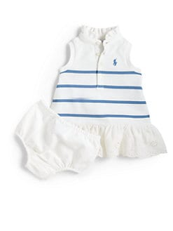 Ralph Lauren - Infant's Striped Polo Dress & Bloomers Set