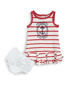 Ralph Lauren - Infant's Striped Dress & Bloomers Set