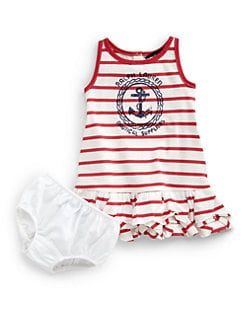 Ralph Lauren - Infant's Striped Anchor Dress & Bloomers Set