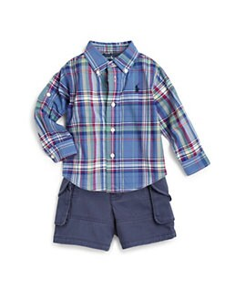 Ralph Lauren - Infant's Two-Piece Plaid Oxford Shirt & Cargo Shorts Set
