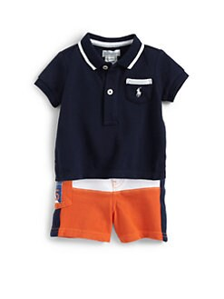 Ralph Lauren - Infant's Two-Piece Mesh Polo Shirt & Colorblock Shorts Set