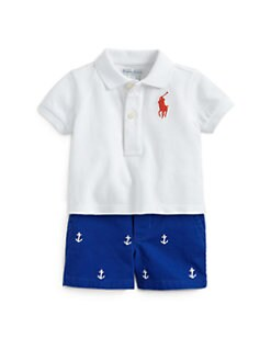Ralph Lauren - Infant's Two-Piece Big Pony Polo Shirt & Schiffli Shorts Set