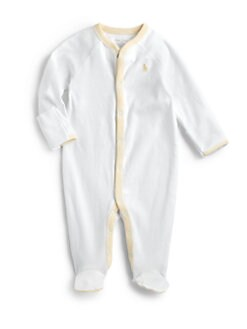 Ralph Lauren - Infant's Stripe-Trimmed Cotton Coverall