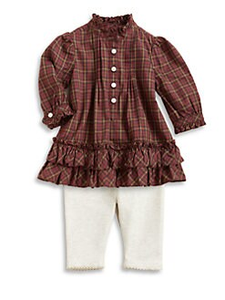 Ralph Lauren - Layette's Plaid Ruffled Top & Leggings Set