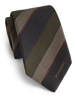 Burberry London - Logo/Stripe Silk Tie