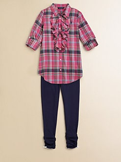 Ralph Lauren - Girl's Ruffled Plaid Top