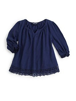Ralph Lauren - Toddler's & Little Girl's Crochet-Trimmed Top