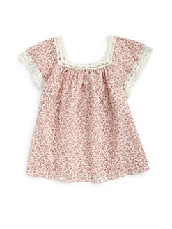 Ralph Lauren - Girl's Lace-Trimmed Floral Top