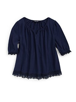 Ralph Lauren - Girl's Crochet-Trimmed Top