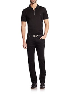Salvatore Ferragamo - Cotton Zip Polo