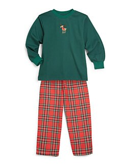 Hartstrings - Toddler's & Little Boy's Two-Piece Reindeer Top & Plaid Pants Pajama Set
