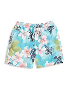 Vilebrequin - Little Boy's Turtles & Flowers Swim Trunks