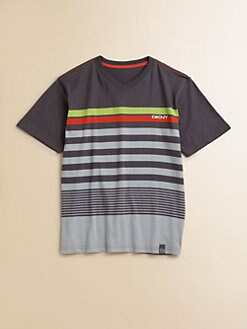 DKNY - Toddler's & Little Boy's Striped V-Neck Tee