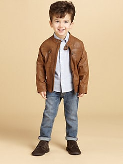 Armani Junior - Toddler's & Little Boy's Leather Bomber Jacket