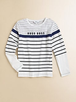 Hugo Boss - Little Boy's Striped Logo Tee