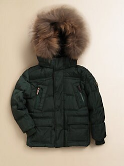 Add Down - Toddler's & Little Boy's Fur-Trimmed Down Parka