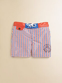 Little Marc Jacobs - Toddler's & Little Boy's Woven Mini Check Swim Trunks