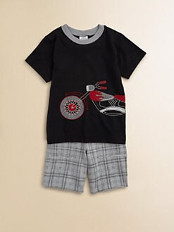 Mulberribush - Toddler's & Little Boy's Motorcycle Tee and Shorts Set