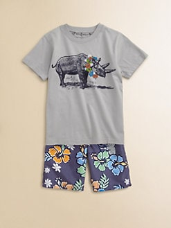 Wes & Willy - Toddler's & Little Boy's Rhino Hibiscus Tee
