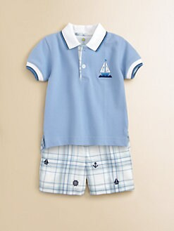 Florence Eiseman - Toddler's & Little Boy's Color-Tipped Sailboat Polo