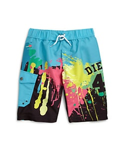Diesel - Little Boy's Mulico Paint Splatter Swim Trunks