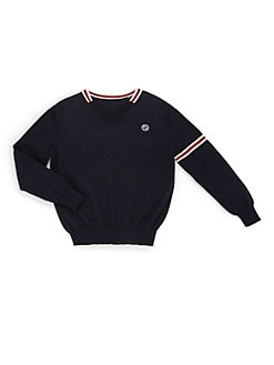 Gucci - Little Boy's Signature Web Merino Wool V-Neck Sweater