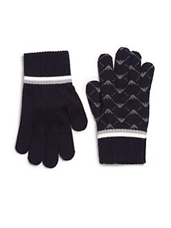 Armani Junior - Toddler's & Little Boy's Knit Logo Gloves