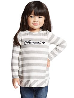 Armani Junior - Toddler's & Little Girl's Striped Sequin Logo Top