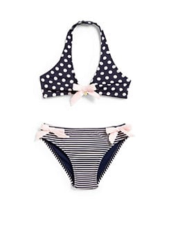 Armani Junior - Toddler's & Little Girl's Two-Piece Polka Dot & Striped Bikini