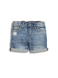 7 For All Mankind - Toddler's & Little Girl's Distressed Mid-Roll Shorts