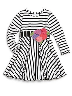 Love U Lots - Toddler's & Little Girl's Striped Rosette-Trim Dress