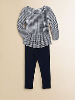 Splendid - Toddler's & Little Girl's Two-Piece Striped Peplum Top & Leggings Set