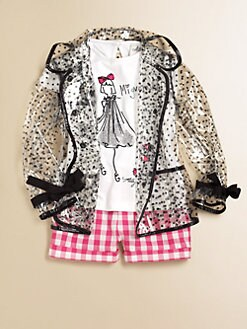 Milly Minis - Toddler's & Little Girl's Piped Polka Dot Raincoat