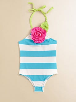 Love U Lots - Toddler's & Little Girl's Striped Halter Swimsuit