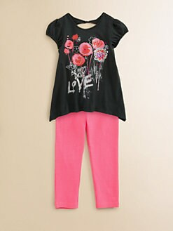 DKNY - Toddler's & Little Girl's Flower Tunic and Leggings Set