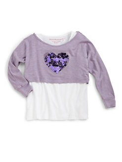 Design History - Toddler's & Little Girl's Layered-Look Heart Popover Top