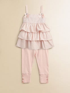 ABS - Toddler's & Little Girl's Two-Piece Sandy Gingham Top & Leggings Set