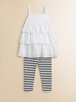 ABS - Toddler's & Little Girl's Two-Piece Sabrina Eyelet Top & Leggings Set