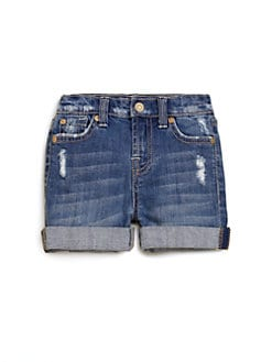 7 For All Mankind - Toddler's & Little Girl's Distressed Denim Shorts