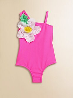 Love U Lots - Toddler's & Little Girl's One-Shoulder Swimsuit