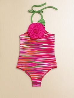 Love U Lots - Toddler's & Little Girl's Neon Striped One-Piece Swimsuit