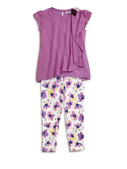 DKNY - Toddler's & Little Girl's Cascade Top and Floral Legging Set
