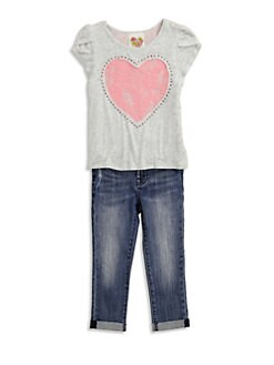 Kiddo - Toddler's & Little Girl's Lace-Back Heart Top