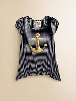 Kiddo - Toddler's & Little Girl's Sequined Anchor Top