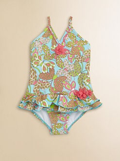 Hartstrings - Toddler's & Little Girl's One-Piece Tropical Flowers Swimsuit